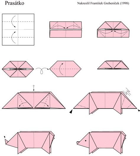 Origami Pig Diagram - easy origami models especially for beginners and