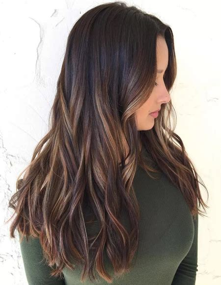 hair highlights for the spring with dark hair light brown balayage for dark hair for spring 2018