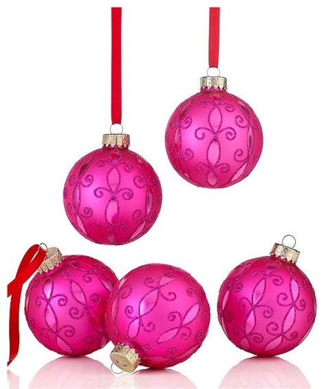 holiday lane set of pink arabesque ornaments