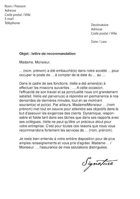 Lettre De Recommandation D Une Entreprise En Sous Traitance Modele Lettre De Recommandation Employe Document