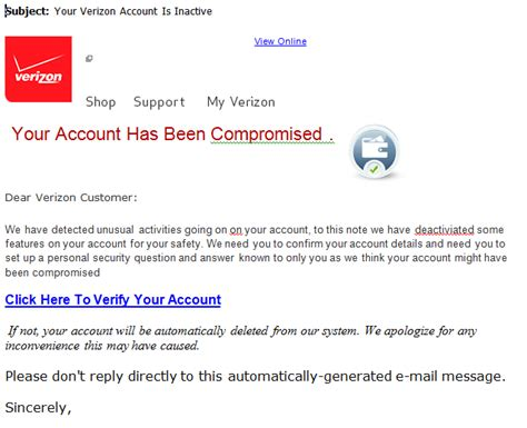 Verizon Credit Letter phishing emails to look out for prilock security awareness