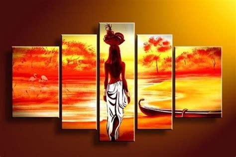 cheap 5 piece set red lovers tree loving landscape canvas 5 piece art 5 piece canvas art sets