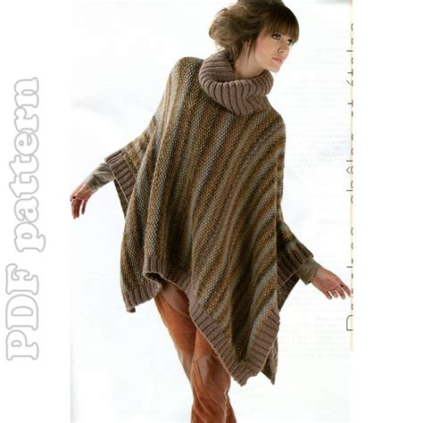 knitted poncho for turtleneck poncho knitting pattern pdf