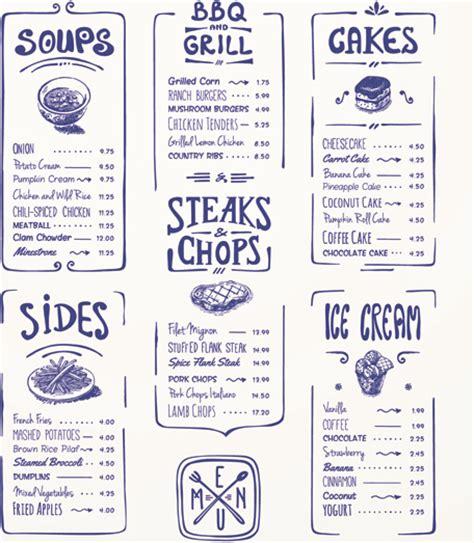 menu design elements hand drawn menu blue design elements free vector in