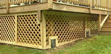 Paver Patio Under Deck How To Trim Lattice Around A Deck Foundation Today S