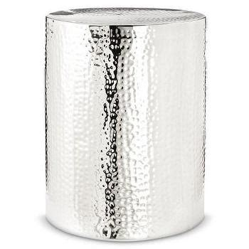 threshold silver storage drum accent table target marlow metal drum accent table pottery barn