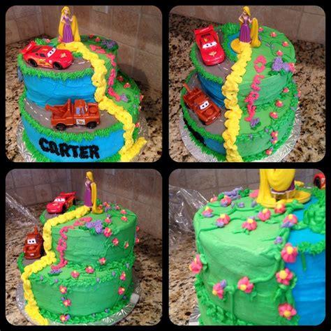 boy girl twins birthday cake inspired  pinterest rapunzel lightning mcqueen cars