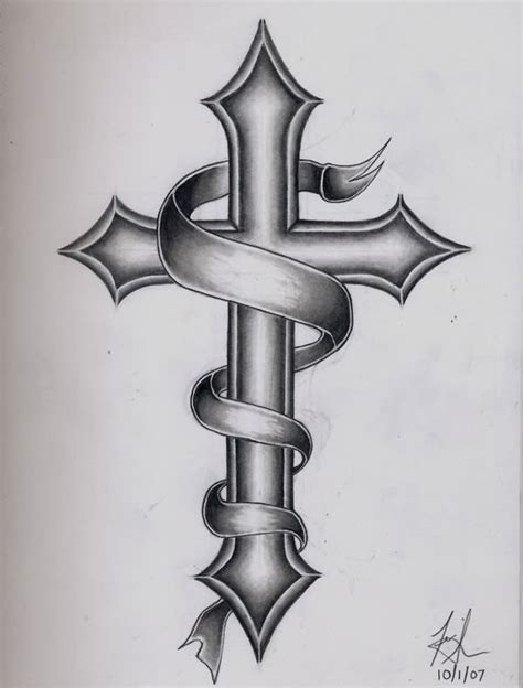 cross with ribbon tattoo 39 memorial cross tattoos ideas