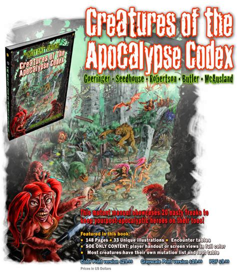 The Apocalypse Codex 2 the mutant epoch from creatures of the apocalypse codex gallery 3