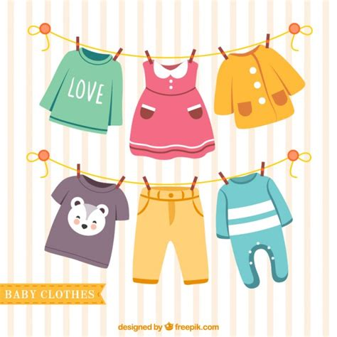 baby clothes hanging on a rope vector free