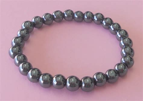 hematite magnetic beaded bracelet 8 mm mineral