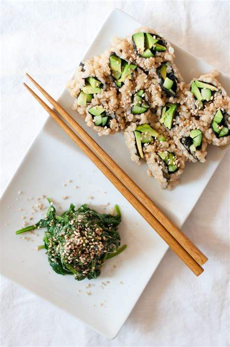 vegetables used in sushi goma ae miso sesame dressing spinach vegetable sushi