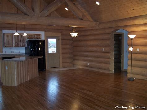 log floor log home interior completed cowboy log homes