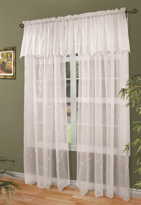 valance with sheer curtains roslyn embroidered voile tailored panel
