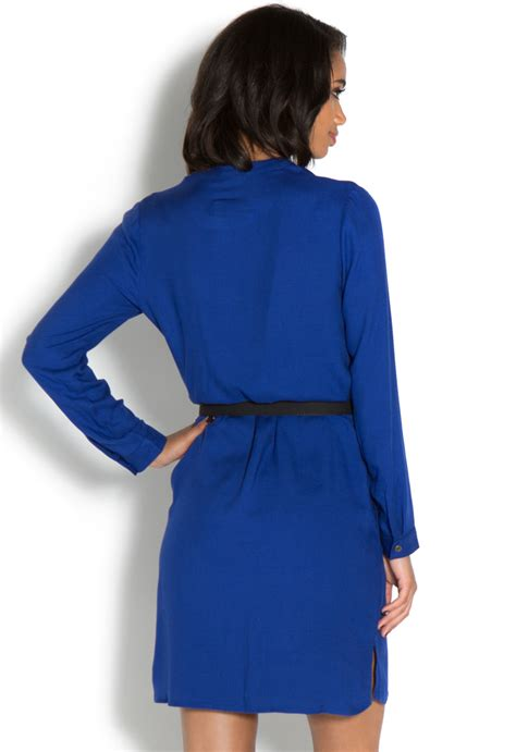Dress Backcow Ori utility high low belted shirt dress shoedazzle