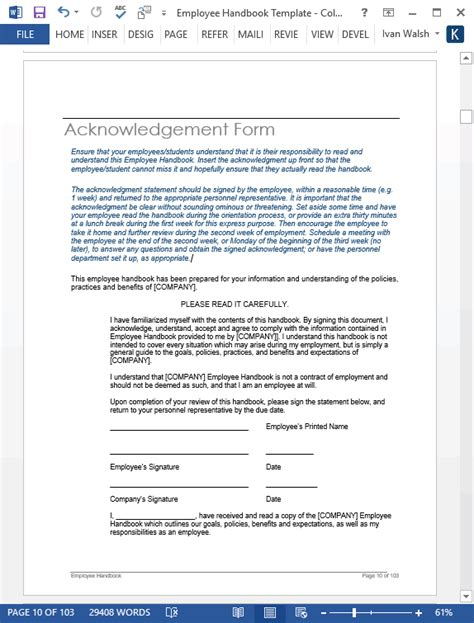 Employee Handbook Template Ms Word 140 Sle Topics Employee Benefits Handbook Template