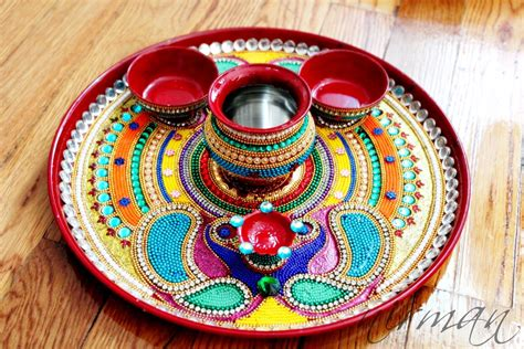 decorative diya and thali set plate decoration plate decoration for wedding and