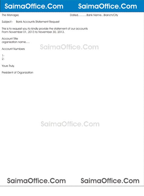 Request Letter Bank Statement Sle Letter Format For Bank Statement Documentshub