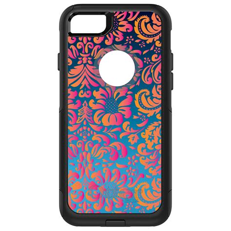 Floral Iphone 6 6s 7 8 X Plus otterbox commuter for iphone 5s se 6 6s 7 plus pink orange