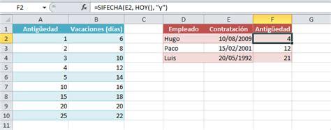 clculo de vacaciones proporcionales 2016 calcular d 237 as de vacaciones en excel excel total