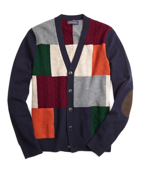 brothers patchwork cardigan in blue for lyst
