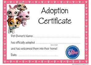 pet adoption certificate template artist loft littlest pet shop free