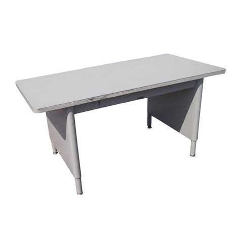 Mcdowell Craig Mid Century Modern Steel Panel Leg Table Modern Metal Desk