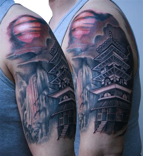 oriental mountain tattoo breathtaking colored and detailed shoulder tattoo of asian