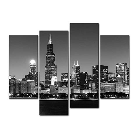 chicago home decor framed chicago night view cityscape canvas art print