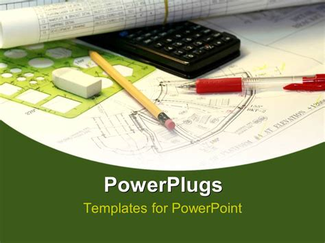 Powerpoint Template An Engineering Sketch With A Black Calculator And Stationery S 11207 Engineering Powerpoint Templates