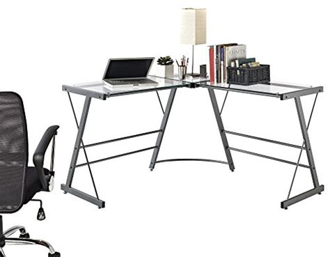 altra the works l shaped desk altra odin glass l shaped computer desk gray