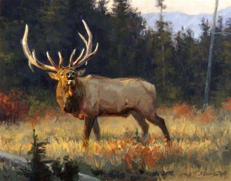 bull elk paintings wildlife painting of bugling bull elk in rut ranch