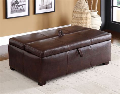 ottoman with hidden twin bed appoline brown leatherette ottoman with pull out bed from
