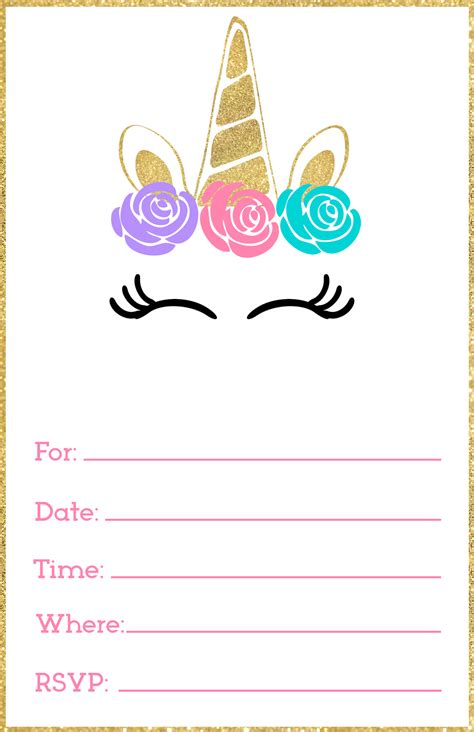 Free Printable Unicorn Invitations Template Paper Trail Design Printable Birthday Templates
