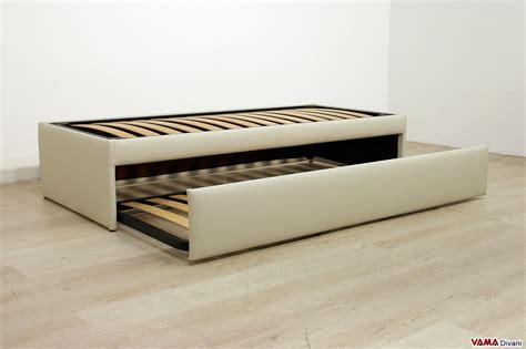 letto offerta letto singolo con letto estraibile in ecopelle in offerta