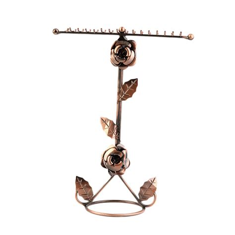 2 tier metal earring necklace jewelry holder stand
