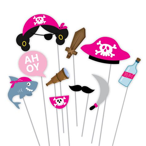 pirate photobooth props printable instant download girls pirate photo booth props pirate birthday props