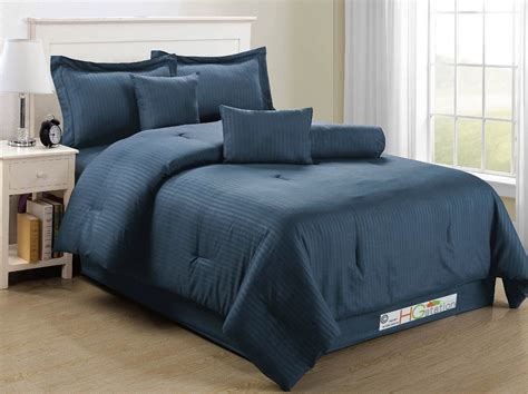 navy blue king size comforter sets 7 pc elegant classic damask stripe soft plush comforter set dark navy blue king
