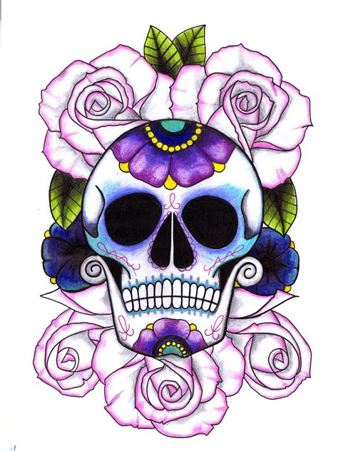 sugar skull and rose tattoos 1000 images about skull on