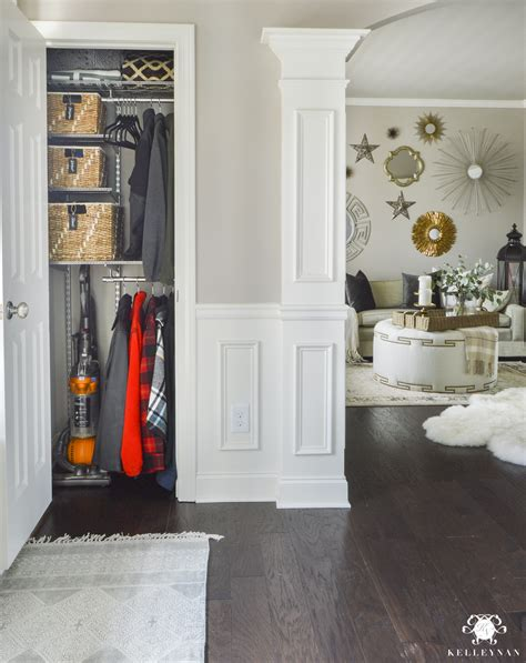 No Coat Closet Solutions by Organized Foyer Coat Closet Before And After Makeover Kelley Nan