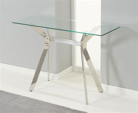small modern console table design with glass top and