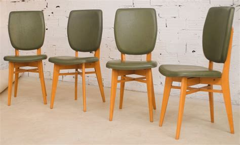 Dining Chairs 50 by Vintage Chairs 50s 1950 Wood Moleskin Green Khaki