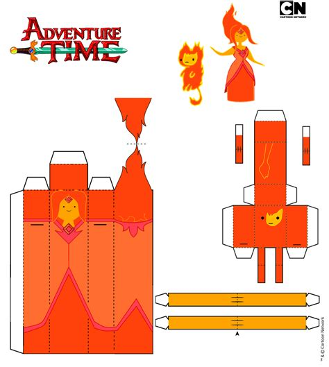 Adventure Time Paper Craft - princess and flambo by iloveyouhorzzza on deviantart