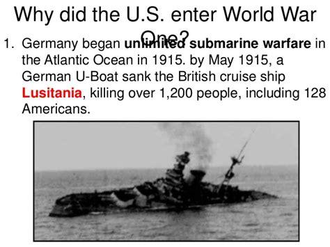 why did german u boats sank the lusitania 1 causes of ww1