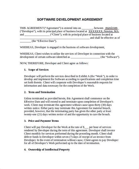 software development terms and conditions template 10 software development agreement templates sle