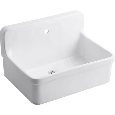 Shop Kohler 18 In X 28 In White Wall Mount Vitreous China Kohler Laundry Room Sinks