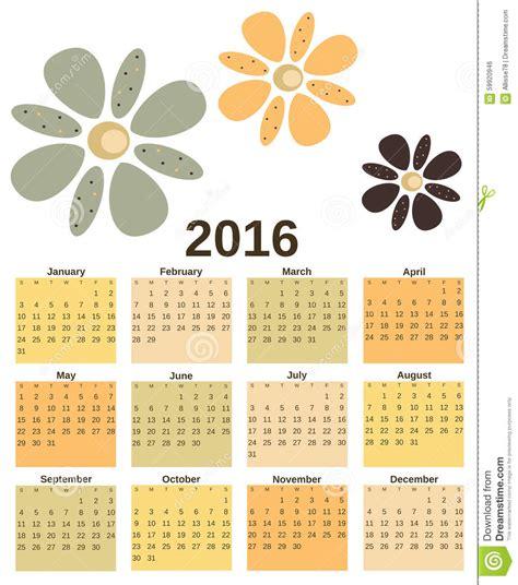 Calendario Retro Vintage Retro 2016 Calendar With Flowers Background