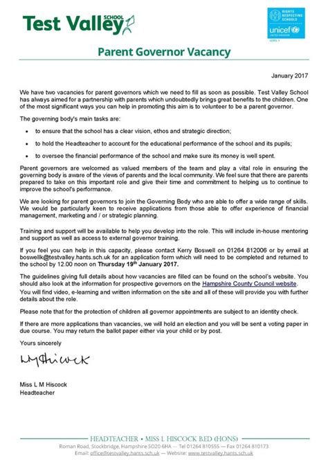 Parent Governor Vacancy Letter Test Valley School Parent Governor Vacancy