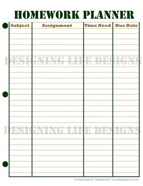 printable homework planner homework planner and weekly homework sheet by