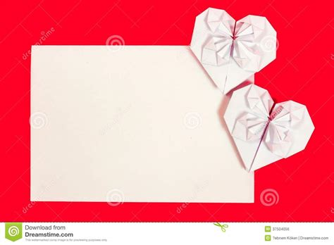 Origami Postcard - hearth shaped origami postcard royalty free stock image
